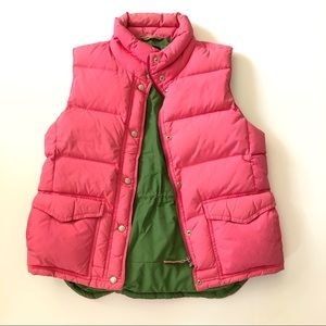 J.Crew Pink & Olive Green Down Puffy Vest